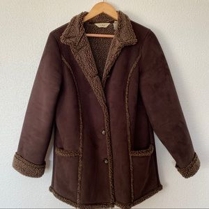 L.L Bean Dark Brown Sherpa Lined Button Down Coat